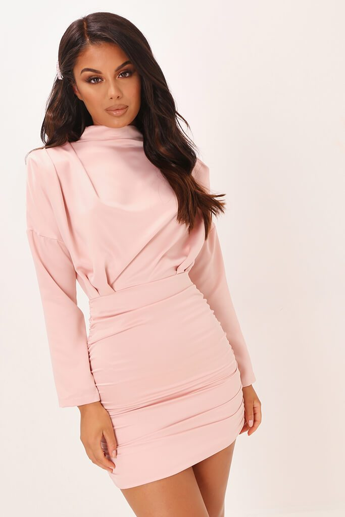 Blush Pink High Neck Ruched Back Satin Mini Dress view main view