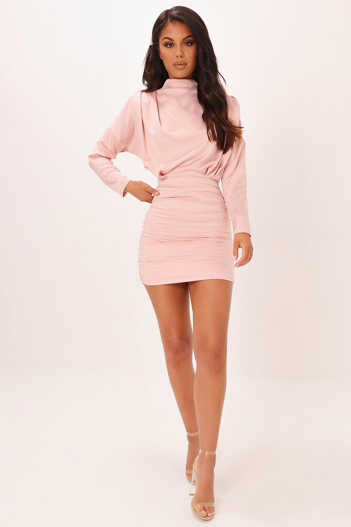 Blush Pink High Neck Ruched Back Satin Mini Dress view 2