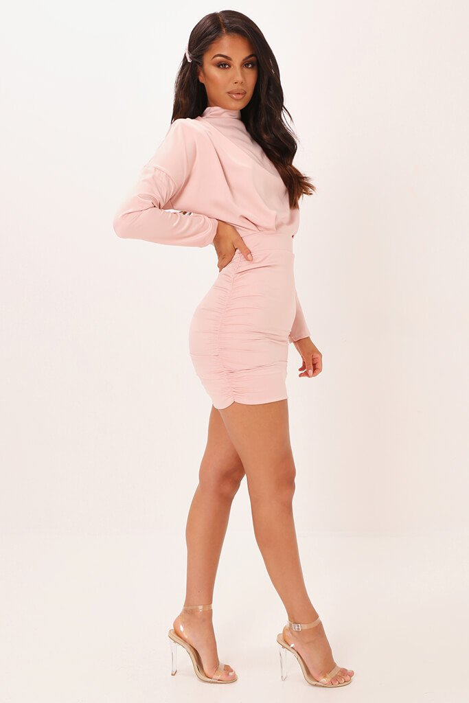 Blush Pink High Neck Ruched Back Satin Mini Dress view 3