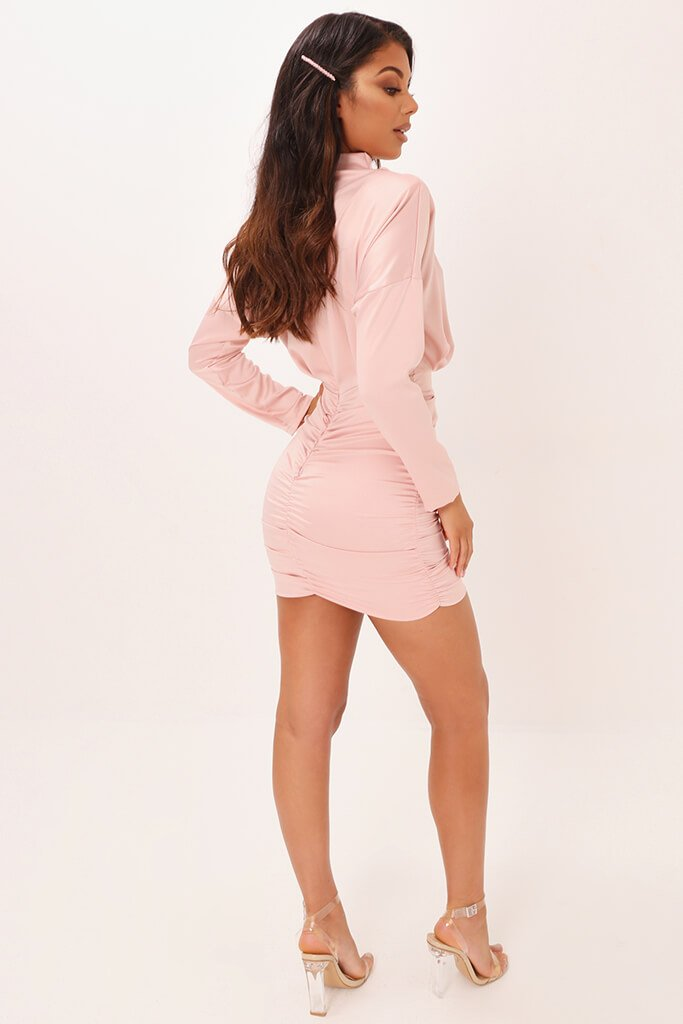 Blush Pink High Neck Ruched Back Satin Mini Dress view 5