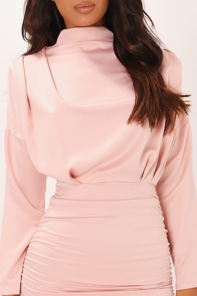 Blush Pink High Neck Ruched Back Satin Mini Dress view 4