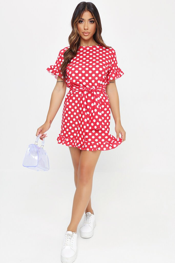 Red Polka Dot Tie Waist Frill Detail Dress view 2