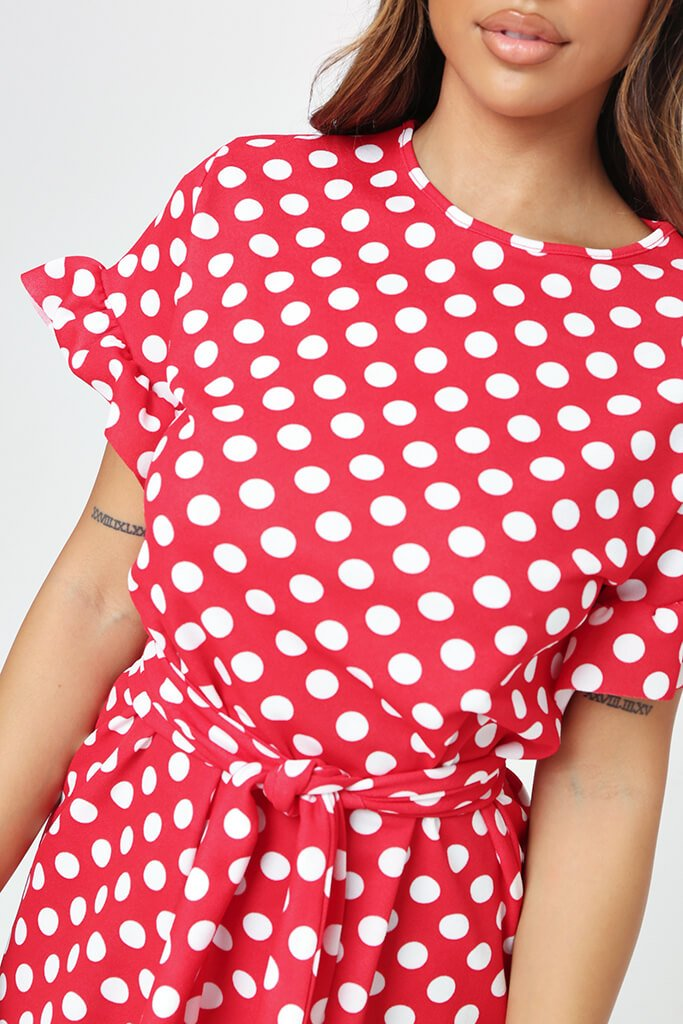 Red Polka Dot Tie Waist Frill Detail Dress view 4