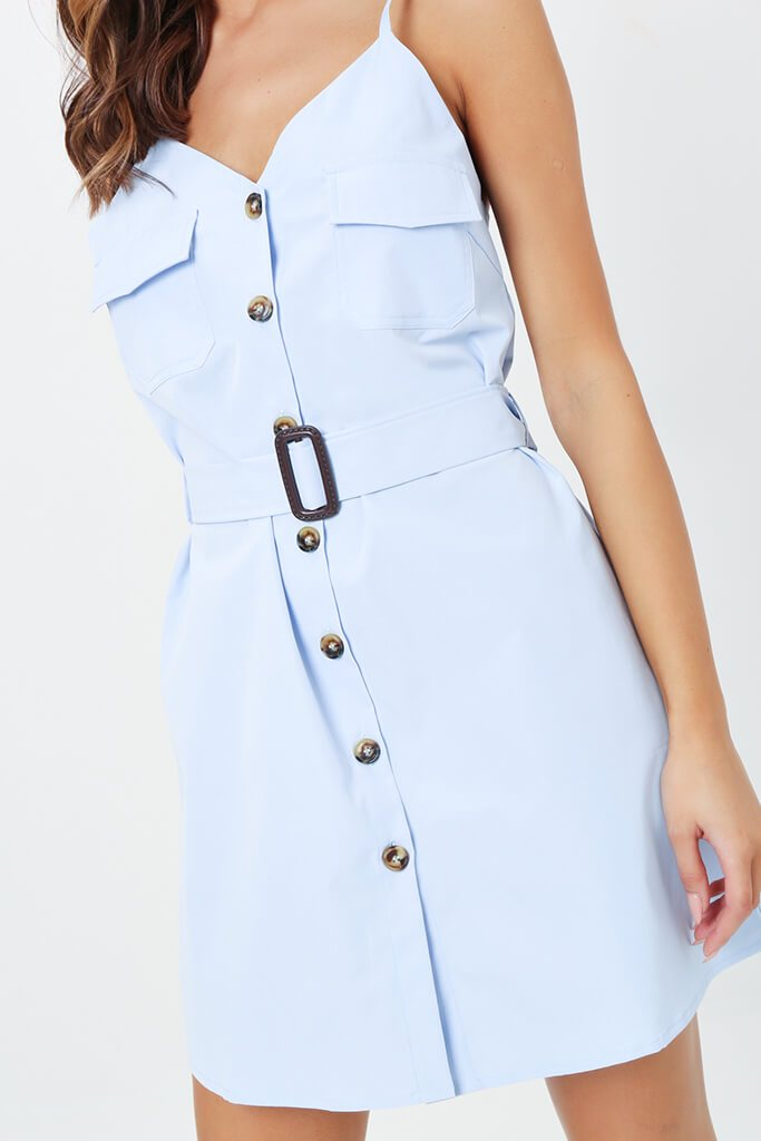 Powder Blue Button Front Belted Dress view 4