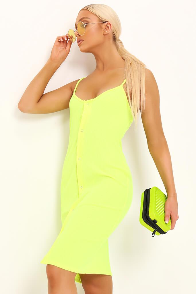 bb80fbdfef66 Neon Lime Button Front Ribbed Midi Dress view main view ...