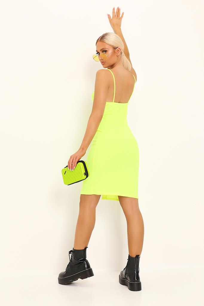 3c09c7b1231d Neon Lime Button Front Ribbed Midi Dress – I SAW IT FIRST