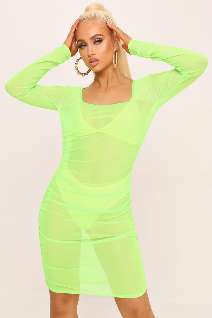 Neon Lime Square Neck Ruched Side Mesh Mini Dress