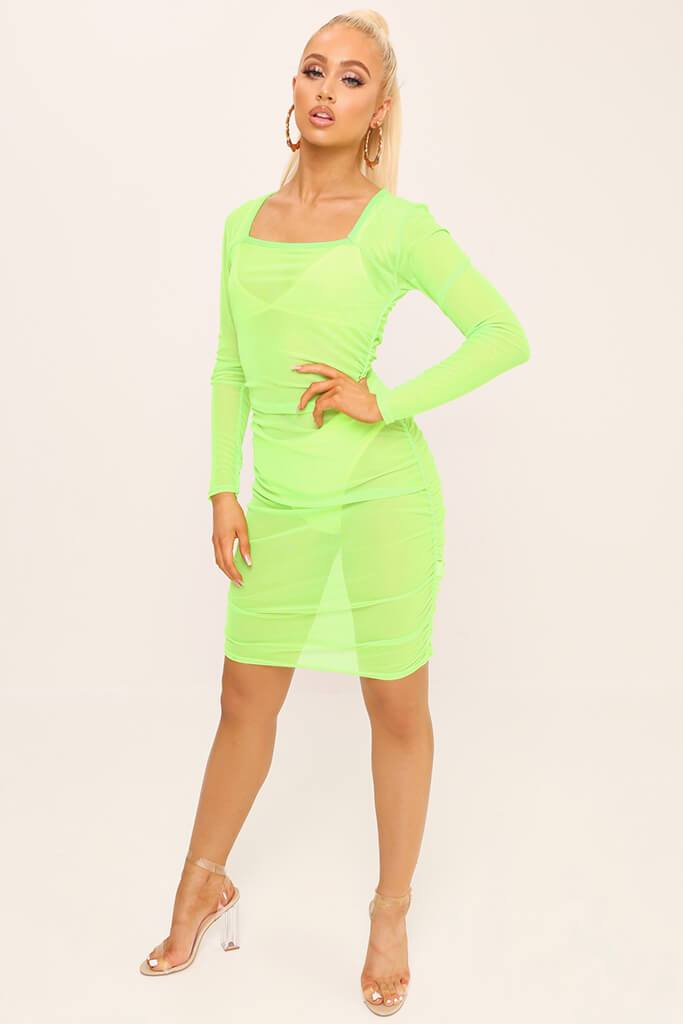 Neon Lime Square Neck Ruched Side Mesh Mini Dress view 2
