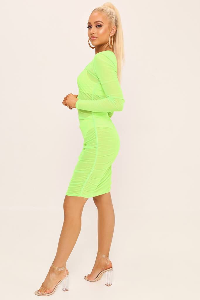 Neon Lime Square Neck Ruched Side Mesh Mini Dress view 3