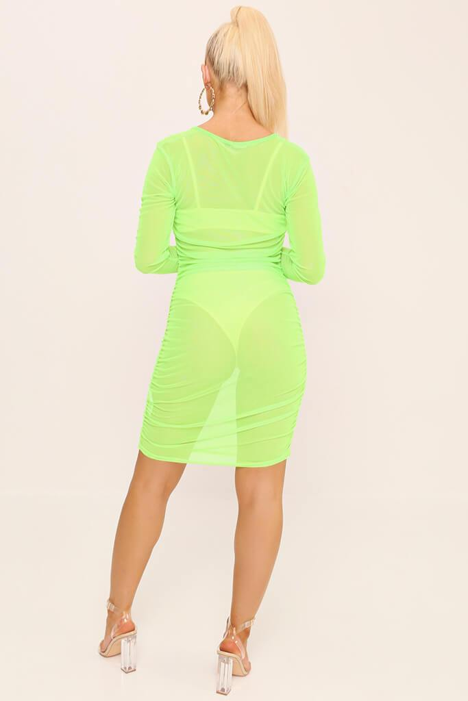 Neon Lime Square Neck Ruched Side Mesh Mini Dress view 5