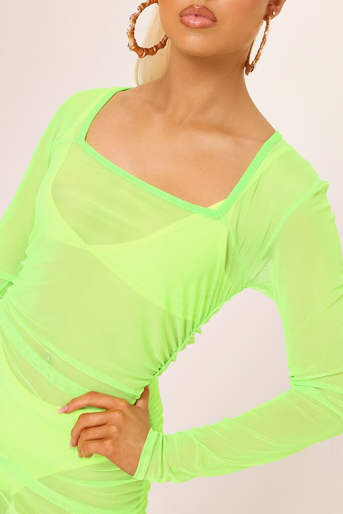 Neon Lime Square Neck Ruched Side Mesh Mini Dress view 4