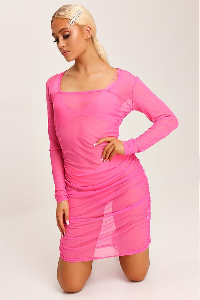 Neon Pink Square Neck Ruched Side Mesh Mini Dress view 2