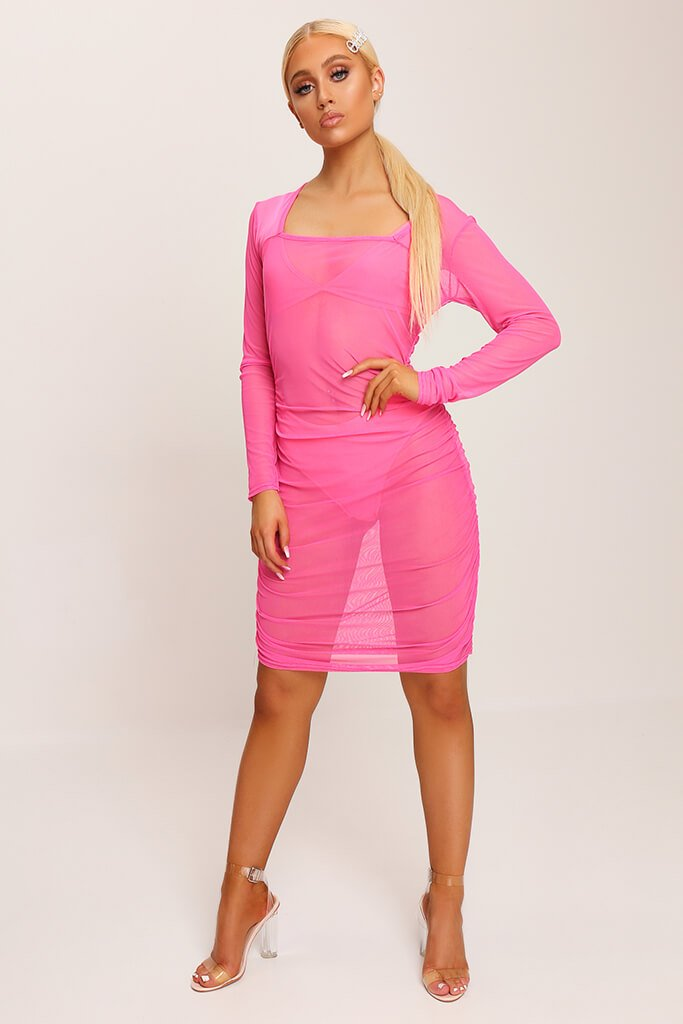 Neon Pink Square Neck Ruched Side Mesh Mini Dress