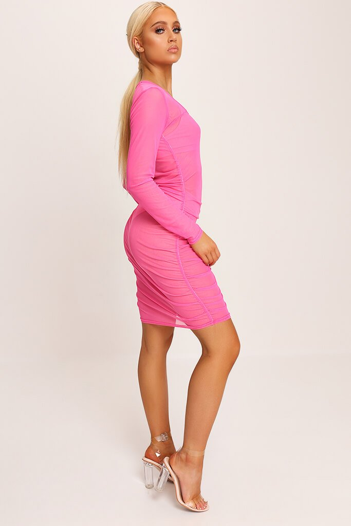 Neon Pink Square Neck Ruched Side Mesh Mini Dress view 3