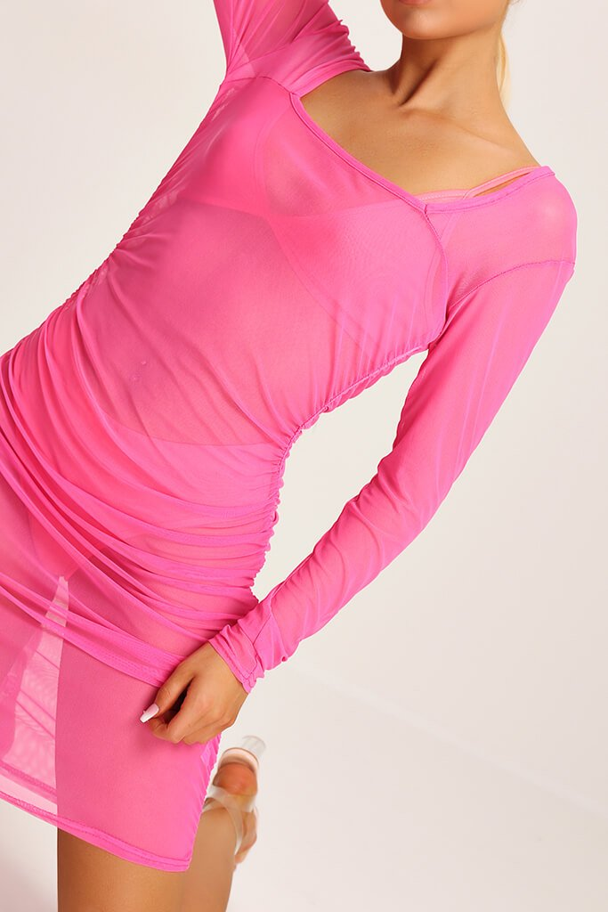 Neon Pink Square Neck Ruched Side Mesh Mini Dress view 4