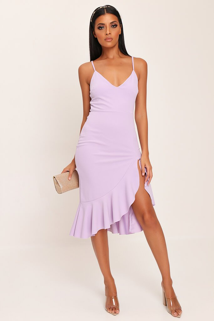 Lilac Plunge Frill Hem Midi Dress view 2