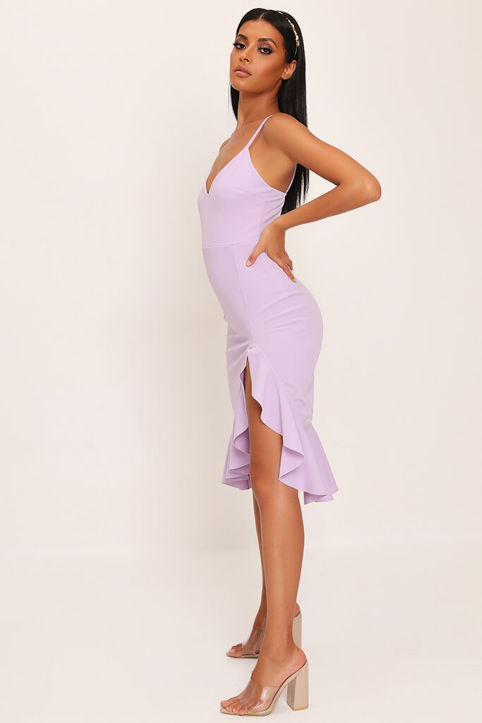 Lilac Plunge Frill Hem Midi Dress view 3
