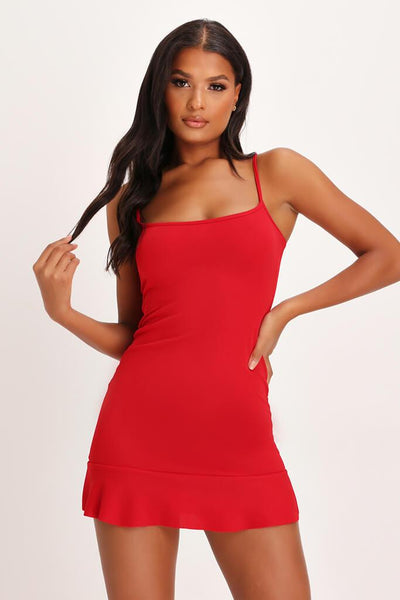 Red Frill Hem Cami Dress by I Saw It First