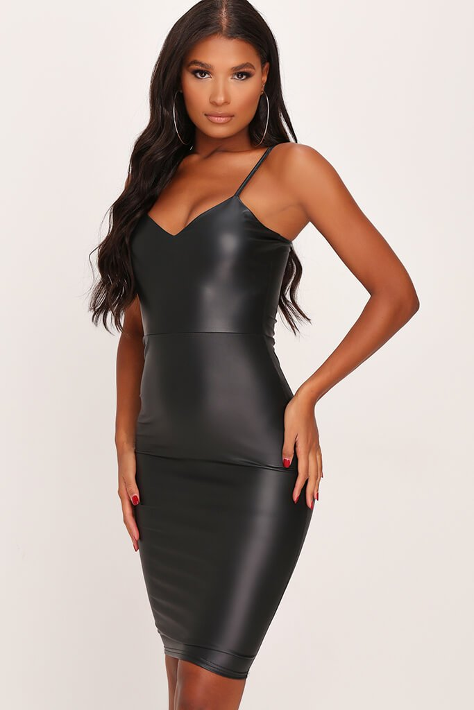 Black Faux Leather Cami Midi Dress view main view