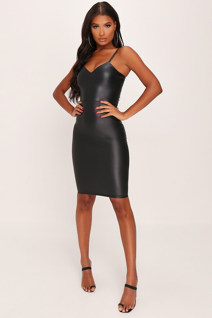 Black Faux Leather Cami Midi Dress view 2