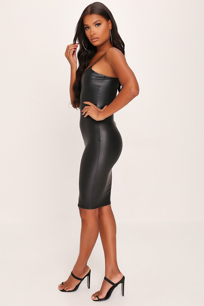 Black Faux Leather Cami Midi Dress view 3