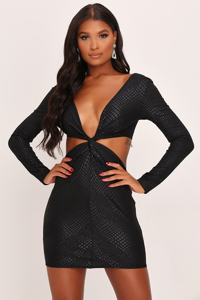 Black Croc Print Twist Front Bodycon Dress