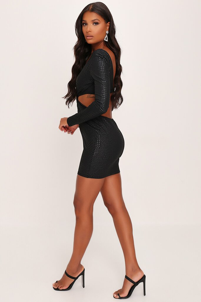 Black Croc Print Twist Front Bodycon Dress view 3