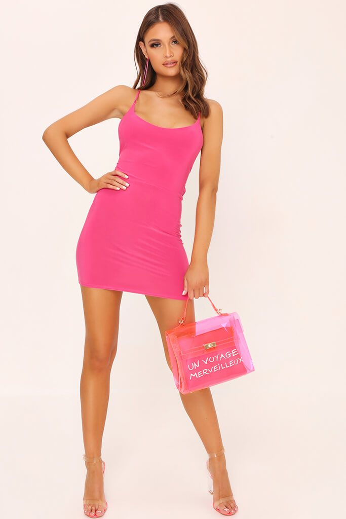 Fuschia Strappy Back Bodycon Dress view 2