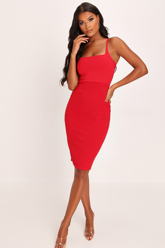 Red Square Neck Strappy Midi Dress view main view