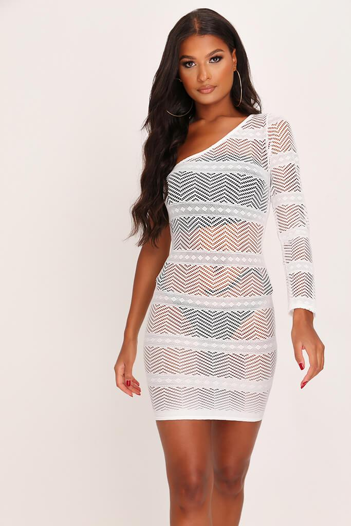 White One Shoulder Crochet Mini Dress