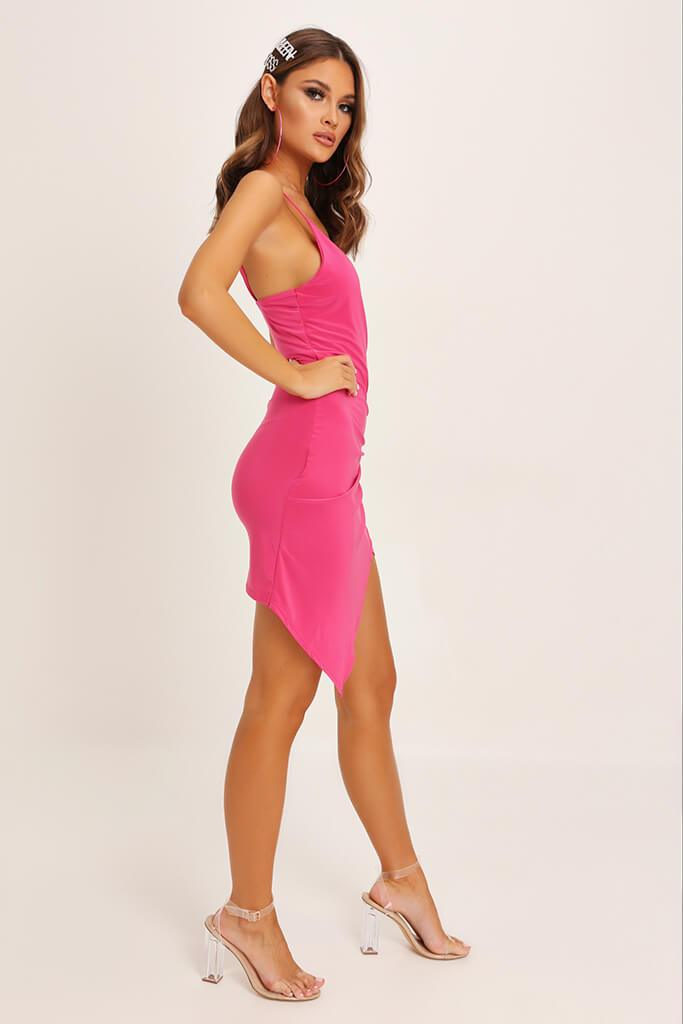 Fuchsia Wrap Front Slinky Dress view 3