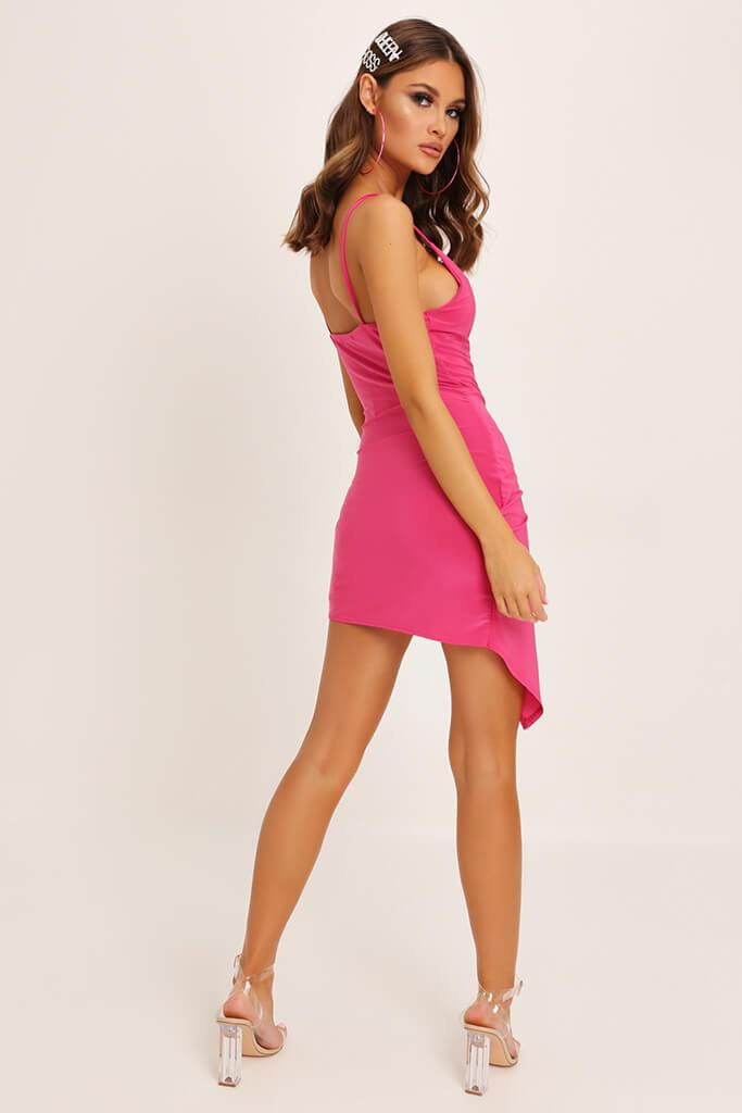 Fuchsia Wrap Front Slinky Dress view 5
