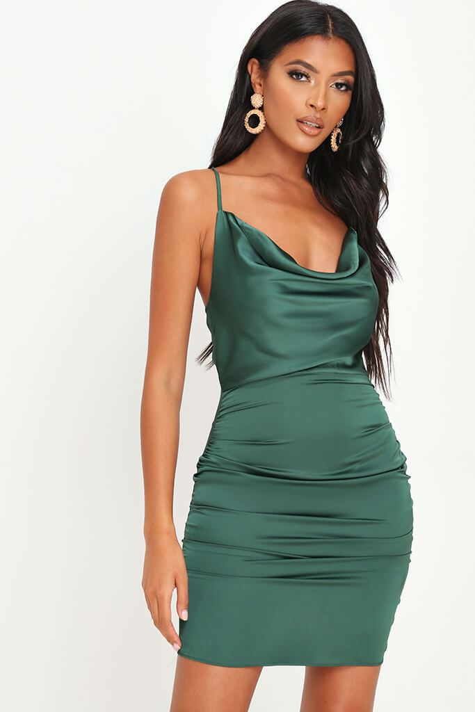 Emerald Green Cowl Neck Ruched Satin Mini Dress