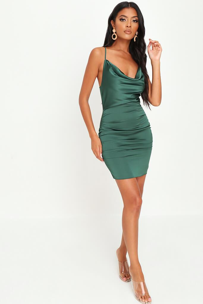 Emerald Green Cowl Neck Ruched Satin Mini Dress view 2