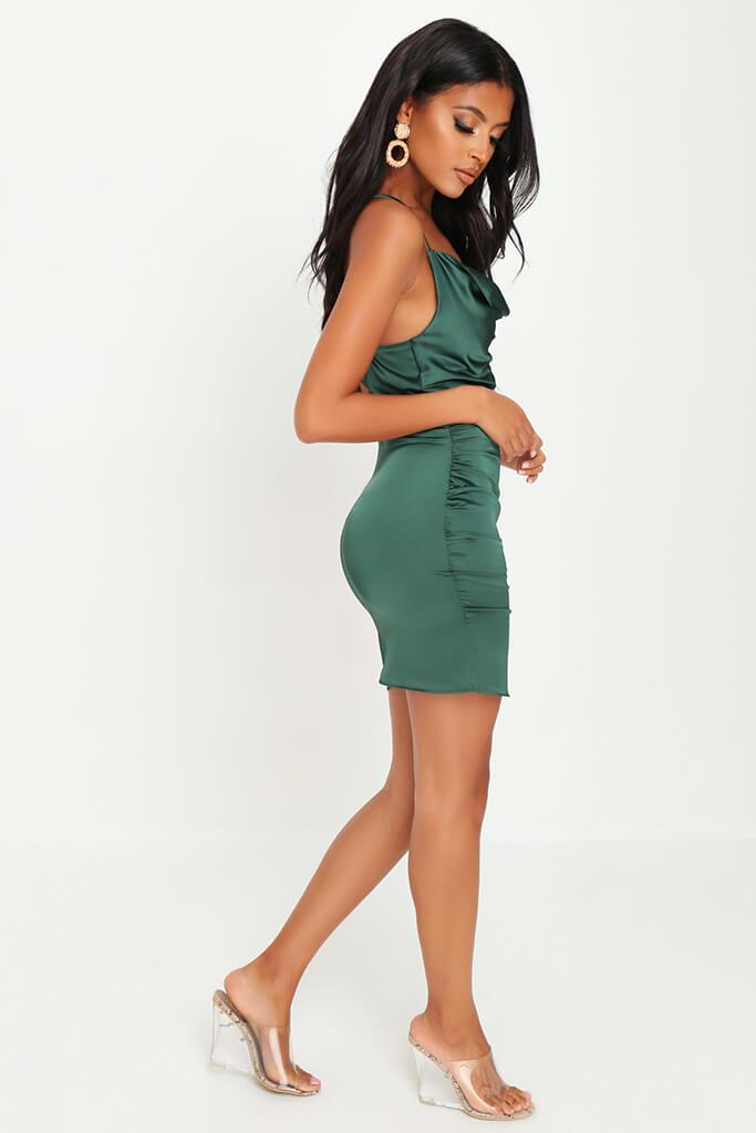 Emerald Green Cowl Neck Ruched Satin Mini Dress view 3