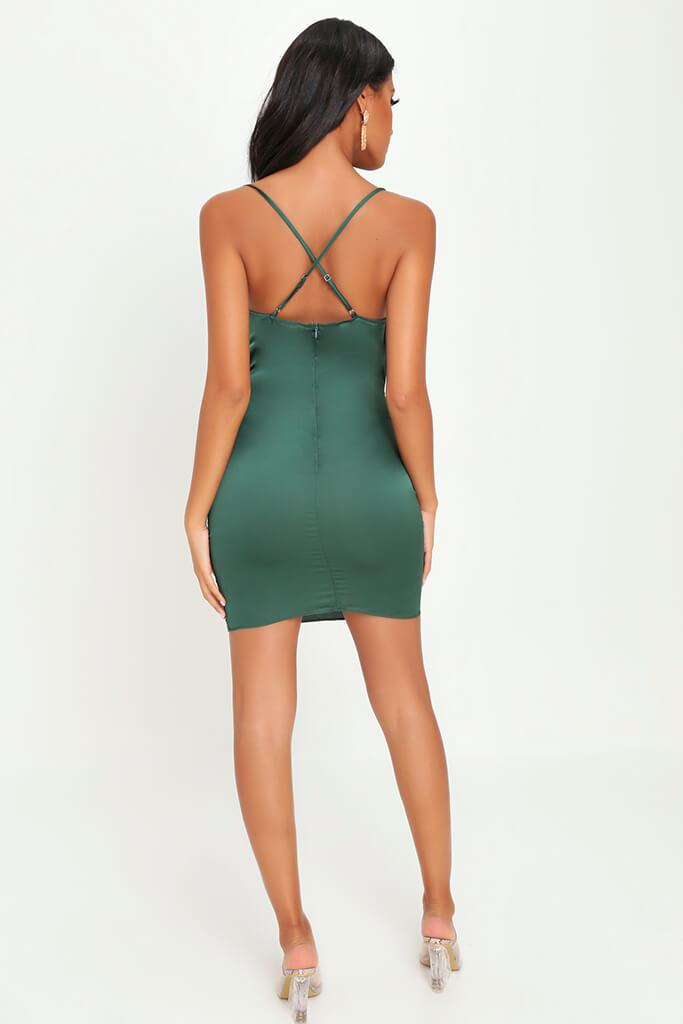 Emerald Green Cowl Neck Ruched Satin Mini Dress view 5