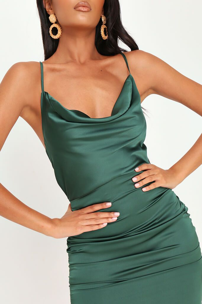 Emerald Green Cowl Neck Ruched Satin Mini Dress view 4