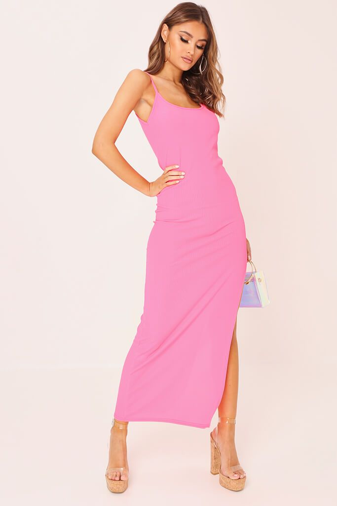 Neon Pink Cami Ribbed Maxi Dress