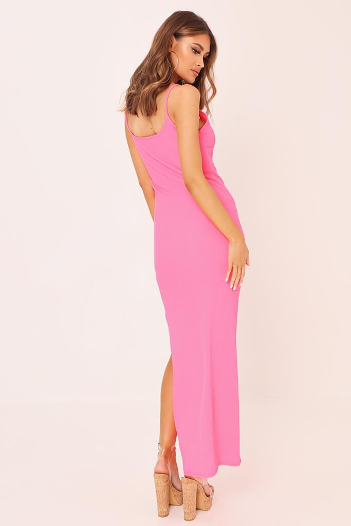 Neon Pink Cami Ribbed Maxi Dress view 4
