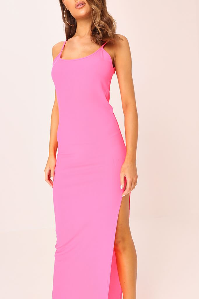 Neon Pink Cami Ribbed Maxi Dress view 3