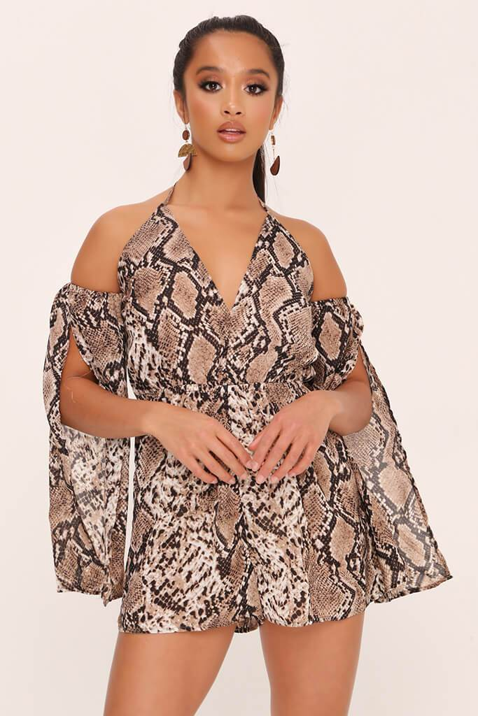 Beige Snake Print Cold Shoulder Playsuit view main view