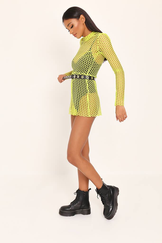 Neon Lime High Neck Fishnet Playsuit view 3