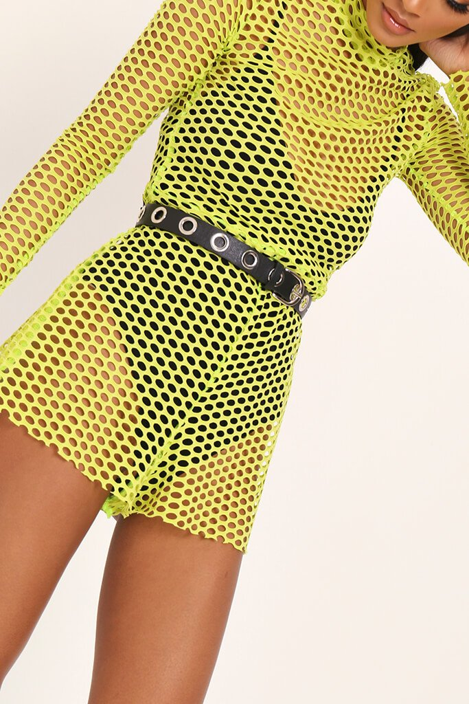 Neon Lime High Neck Fishnet Playsuit view 4