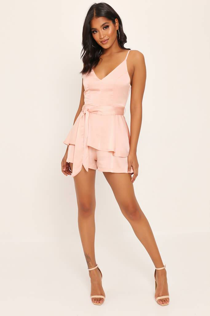 Nude Satin Frill Playsuit view main view