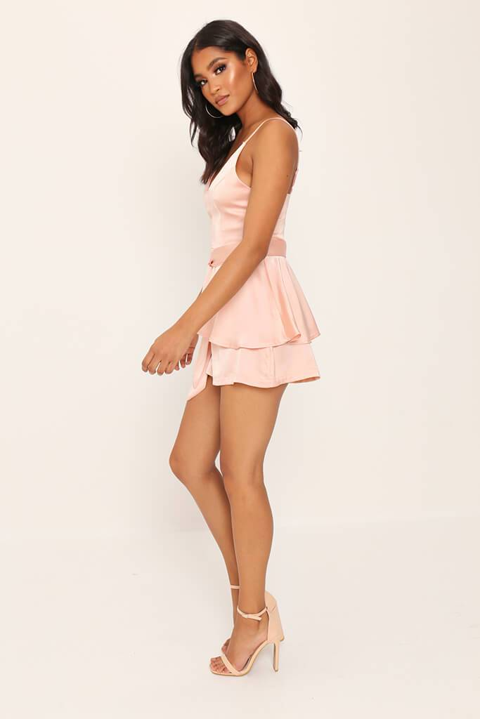 Nude Satin Frill Playsuit view 3