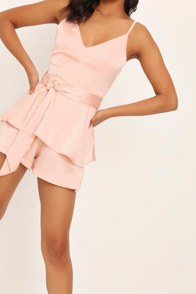 Nude Satin Frill Playsuit view 4