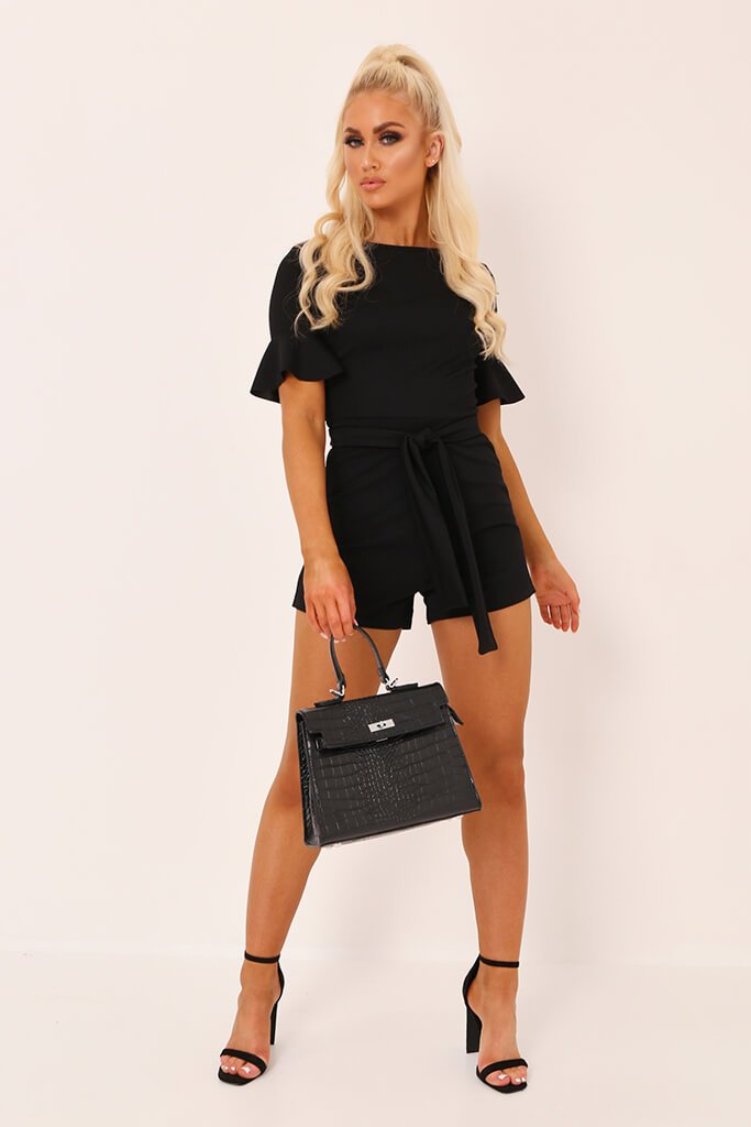 Black Tie Waist Frill Sleeve Playsuit view 2