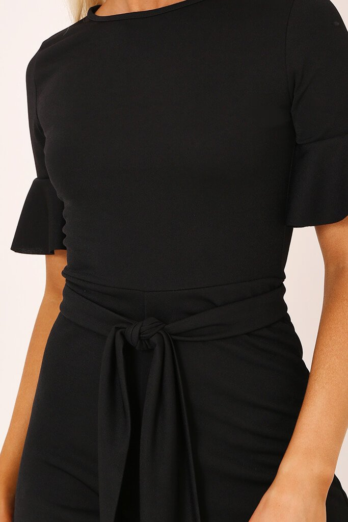 Black Tie Waist Frill Sleeve Playsuit view 4