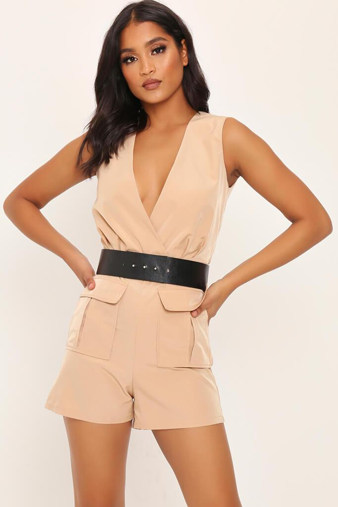 Camel Utility Belted Playsuit view main view