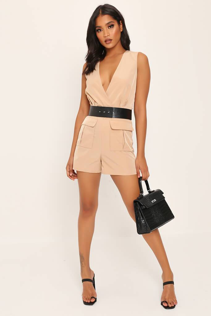 Camel Utility Belted Playsuit view 2